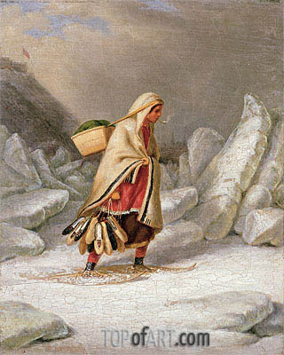 An Indian Woman Wearing Snowshoes, Undated | Cornelius Krieghoff | Gemälde Reproduktion