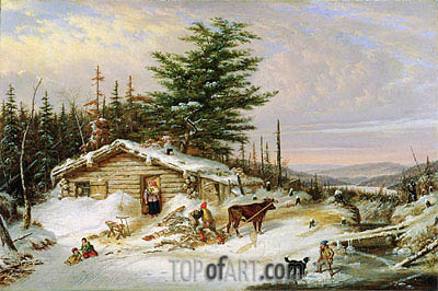 Settler's Log House, 1856 | Cornelius Krieghoff | Painting Reproduction