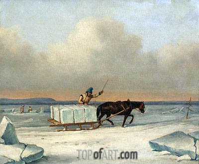 The Ice Cutters on the St. Lawrence at Longueuil, 1850 | Cornelius Krieghoff | Gemälde Reproduktion