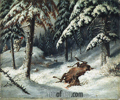Cerf Mort, Undated | Cornelius Krieghoff | Painting Reproduction