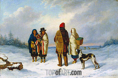Indians in a Snowy Landscape, c.1847/48 | Cornelius Krieghoff | Painting Reproduction