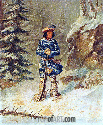 In Doubt of Track, 'Iroquois' Indian, c.1868 | Cornelius Krieghoff | Painting Reproduction