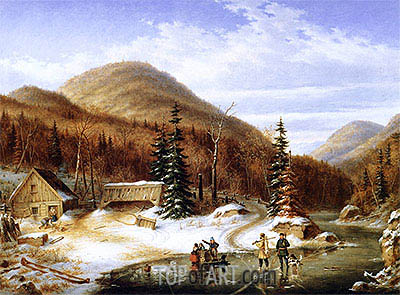 Winter Scene in the Laurentians - The Laval River, 1867 | Cornelius Krieghoff | Painting Reproduction