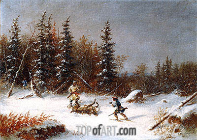 The Caribou Hunters, 1866 | Cornelius Krieghoff | Painting Reproduction