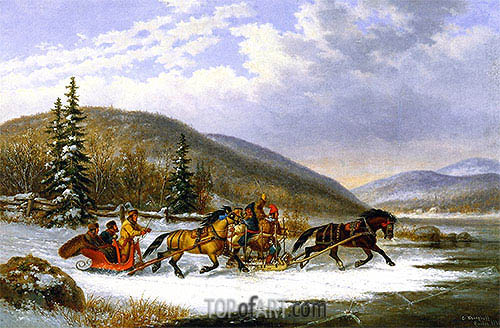 Sleigh Race across the Ice, 1861 | Cornelius Krieghoff | Painting Reproduction