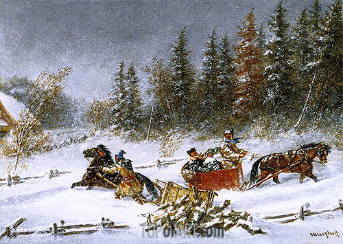 A Winter Incident, c.1860 | Cornelius Krieghoff | Painting Reproduction