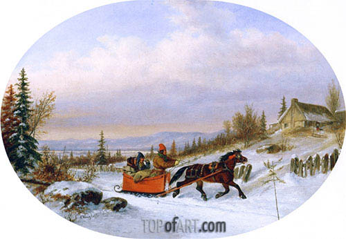 Habitants Returning from Town, c.1860 | Cornelius Krieghoff | Painting Reproduction