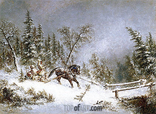 Winter Scene, Blizzard, 1856 | Cornelius Krieghoff | Painting Reproduction