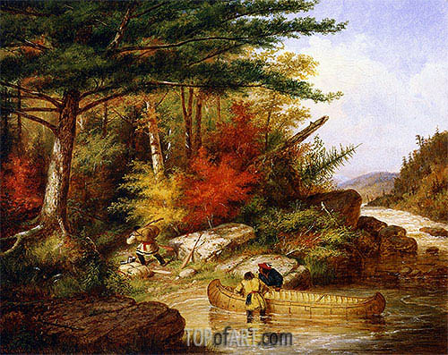 Indians in the Employ of the Hudson's Bay Company at a Portage, 1858 | Cornelius Krieghoff | Painting Reproduction