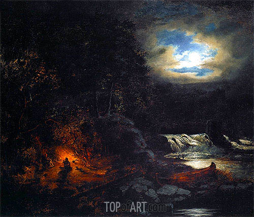 Portage near Falls of Grand'Mere, St. Maurice River, 1855   Cornelius Krieghoff   Painting Reproduction