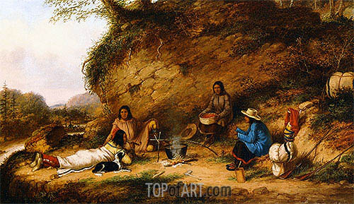 Indian Encampment at Big Rock, c.1853 | Cornelius Krieghoff | Gemälde Reproduktion