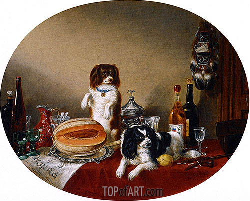 The Pets and the Materials, 1860 | Cornelius Krieghoff | Gemälde Reproduktion