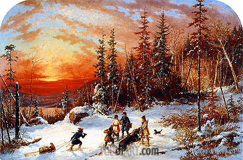 Death of the Moose at Sunset, Lake Famine South of Quebec, 1859 | Cornelius Krieghoff | Gemälde Reproduktion