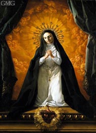 Saint Margaret Mary Alacoque Contemplating the Sacred Heart of Jesus, c.1765 by Corrado Giaquinto | Painting Reproduction