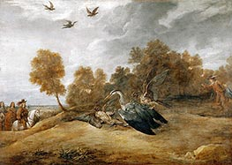 Archduke Leopold Wilhelm Hunting Herons with Falcons, undated by David Teniers | Painting Reproduction