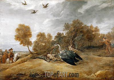 Archduke Leopold Wilhelm Hunting Herons with Falcons, undated | David Teniers | Gemälde Reproduktion