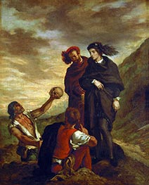 Hamlet and Horatio in the Cemetery, 1839 by Eugène Delacroix | Painting Reproduction