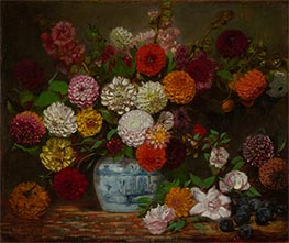 Still Life with Dahlias, Zinnias, Hollyhocks and Plums | Eugène Delacroix | Painting Reproduction