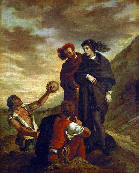Hamlet and Horatio in the Cemetery, 1839 | Eugène Delacroix | Painting Reproduction