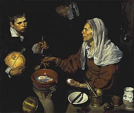 An Old Woman Cooking Eggs, 1618 von Velazquez | Gemälde-Reproduktion