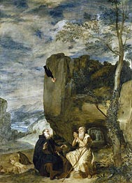 Saint Anthony the Abbot and Saint Paul the First Hermit | Velazquez | Painting Reproduction