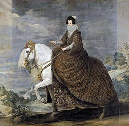 Queen Isabel de Bourbon, wife of Felipe IV on Horseback, c.1635/36 by Velazquez | Painting Reproduction