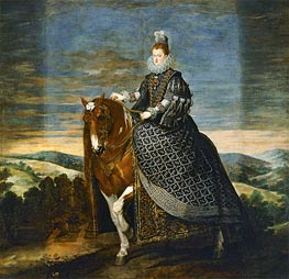 Queen Margarita de Austria on Horseback | Velazquez | Painting Reproduction