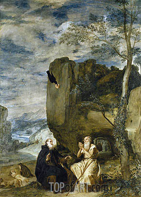Saint Anthony the Abbot and Saint Paul the First Hermit, c.1634 | Velazquez | Painting Reproduction