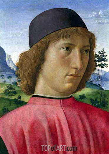 Portrait of a Young Man in Red, c.1480/90 | Ghirlandaio | Gemälde Reproduktion