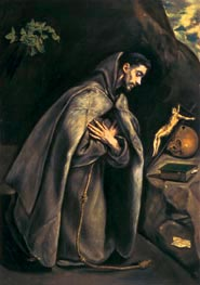St Francis Venerating the Crucifix, c.1595 by El Greco | Painting Reproduction