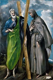 Saint Andrew and Saint Francis, c.1595 by El Greco | Painting Reproduction