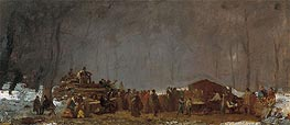 The Maple Sugar Camp - Turning Off, c.1865/73 by Eastman Johnson | Painting Reproduction