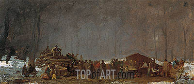 The Maple Sugar Camp - Turning Off, c.1865/73 | Eastman Johnson | Painting Reproduction