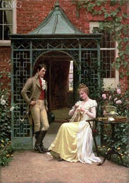 On the Threshold | Blair Leighton | Painting Reproduction
