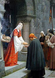 The Charity of Saint Elizabeth of Hungary, 1915 von Blair Leighton | Gemälde-Reproduktion