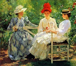 Three Sisters - A Study in June Sunlight, 1890 by Edmund Charles Tarbell | Painting Reproduction