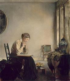 Girl Reading, 1909 by Edmund Charles Tarbell | Painting Reproduction