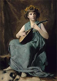Marion Hiller Fenno at Nine as Mandolinata, c.1887/88 by Edmund Charles Tarbell | Painting Reproduction