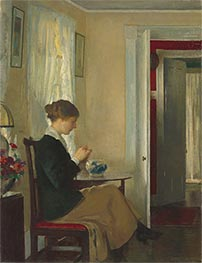 Josephine Knitting, 1916 by Edmund Charles Tarbell | Painting Reproduction