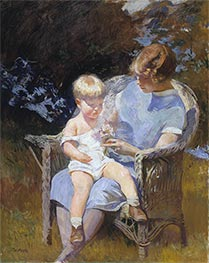 Marjorie and Little Edmund, 1928 by Edmund Charles Tarbell | Painting Reproduction