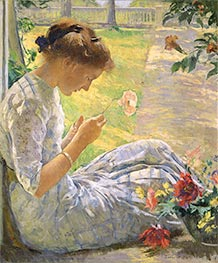 Mercie Cutting Flowers, 1912 by Edmund Charles Tarbell | Painting Reproduction
