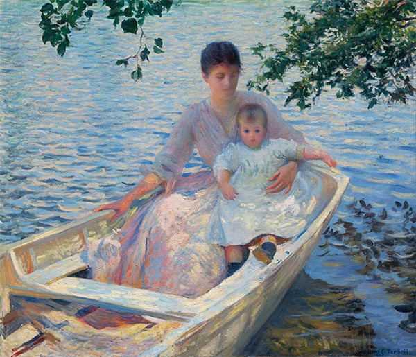 Mother and Child in a Boat, 1892 | Edmund Charles Tarbell | Painting Reproduction