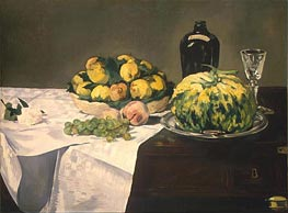 Still Life with Melon and Peaches, c.1866 von Manet | Gemälde-Reproduktion