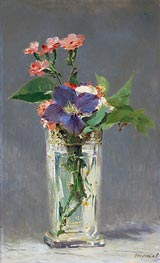 Pinks and Clematis in a Crystal Vase | Manet | Gemälde Reproduktion