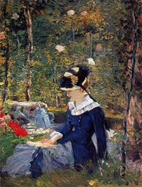 Young Woman in a Garden, 1880 von Manet | Gemälde-Reproduktion
