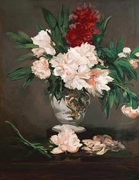 Peonies in a Vase on a Stand | Manet | Painting Reproduction