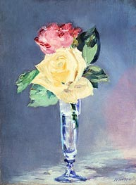 Roses in a Champagne Glass, c.1882 by Manet | Painting Reproduction