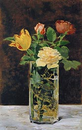 Roses and Tulips in a Vase, 1883 by Manet | Painting Reproduction