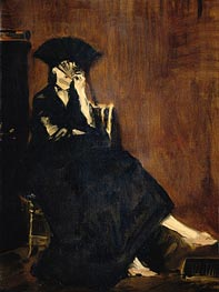 Berthe Morisot with a Fan, 1872 von Manet | Gemälde-Reproduktion