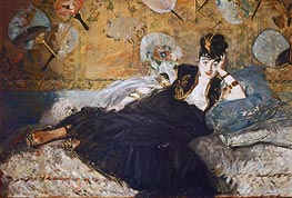 Woman with Fans (Nina de Callias), 1873 von Manet | Gemälde-Reproduktion